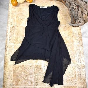 StudioM stretchy asymmetrical chiffon blouse